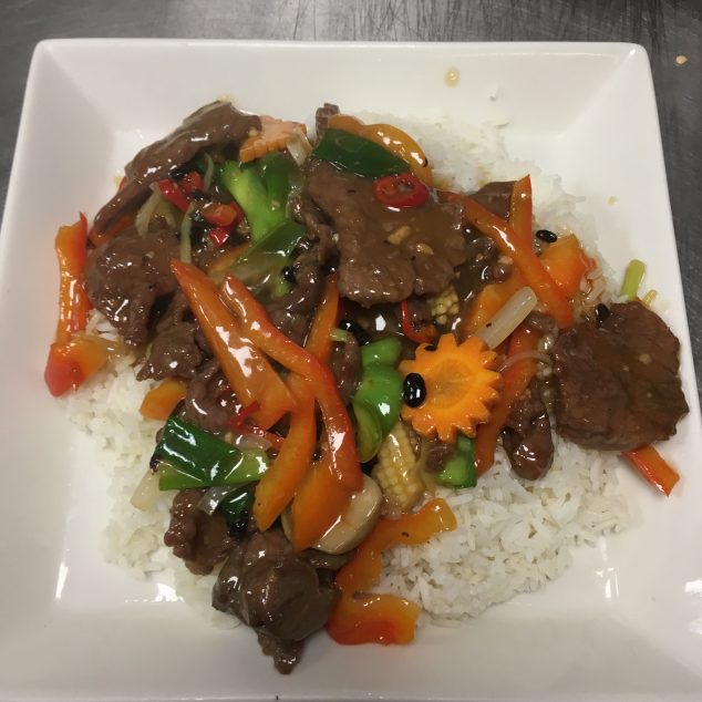 鼓汁牛肉饭Witte rijst met rundvlees in zwarte bonen saus