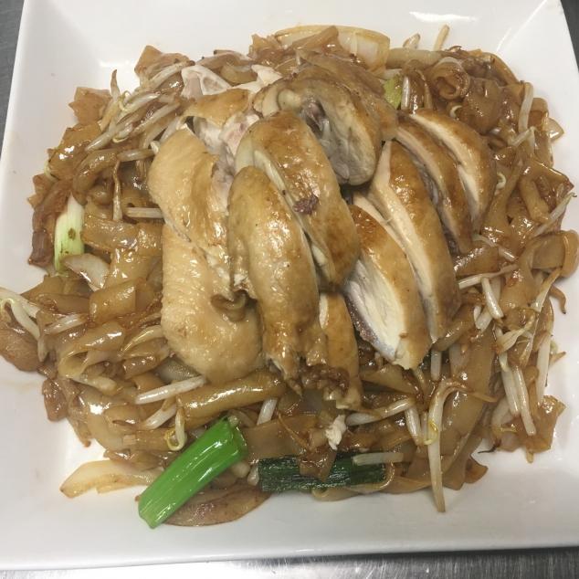 干炒油鸡河Soja kip met rijststick