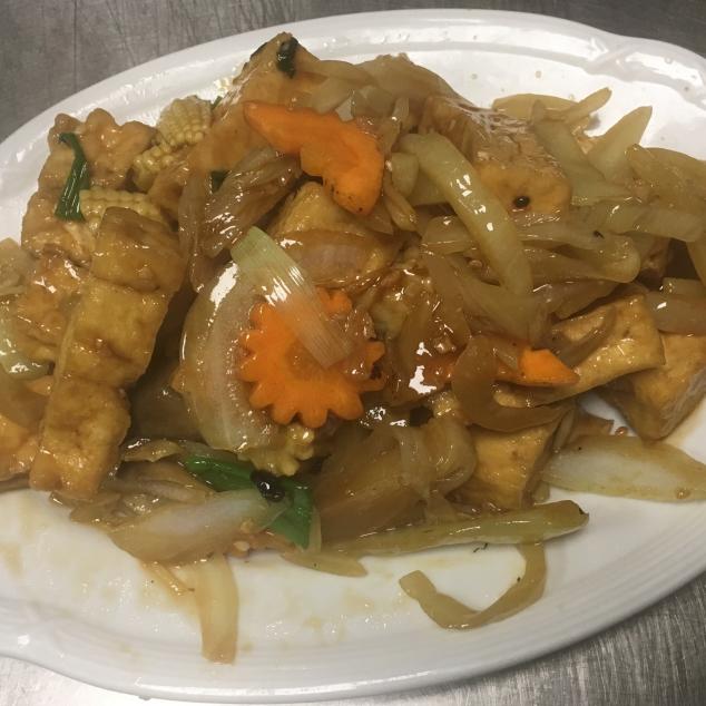 味菜炒豆腐Zuurgroente met tofu