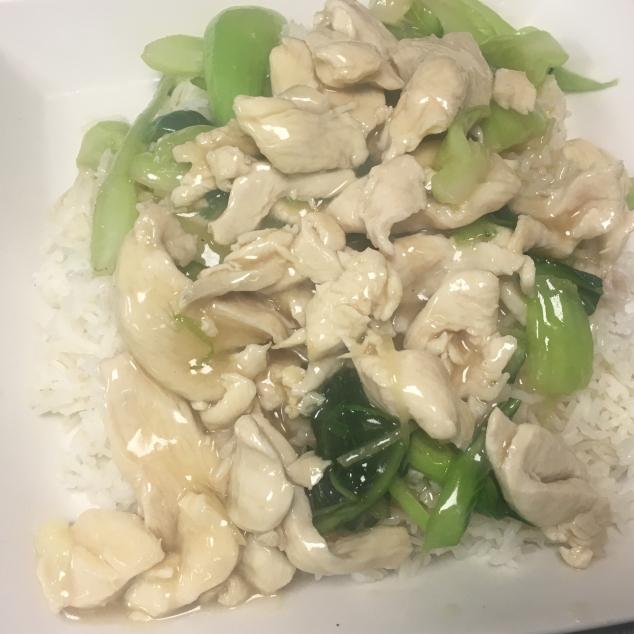 时菜鸡肉饭Witte rijst  met seizoen groenten en kipvlees