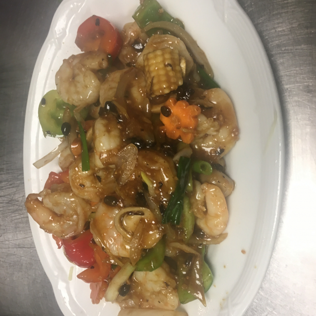 鼓汁虾Garnalen met zwarte bonen saus
