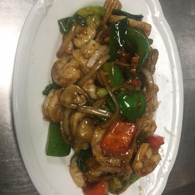 黑椒虾Garnalen met zwarte peper saus
