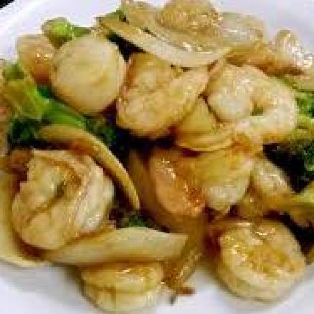 姜葱虾Garnalen met gember en bosuien